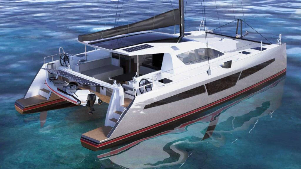 c-cat 48 catamaran design divers dans l'eau