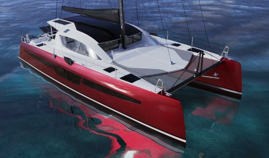nouveau design de catamaran C-CAT 48 en rouge
