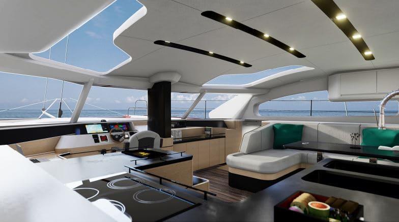 un catamaran avec design personn